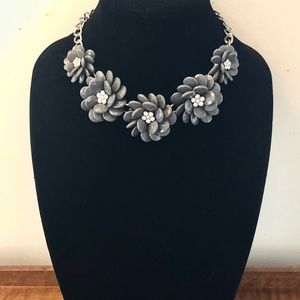 Jewelry - 5/$25 Faceted Gray Petal Roses Rhinestone Necklace